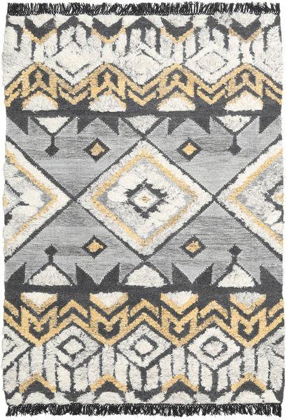 Deco 絨毯 140X200 モダン 手織り 薄い灰色/暗めのベージュ色の/濃いグレー (ウール, インド)