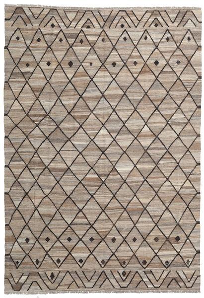 キリム Ariana 絨毯 202X291 モダン 手織り 薄い灰色/濃い茶色 (ウール, アフガニスタン)