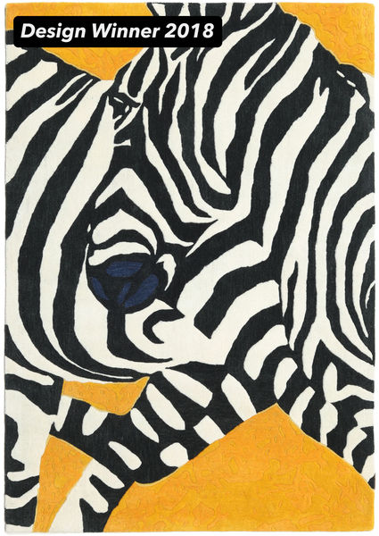 Zebra - 2018 絨毯 140X200 モダン 黒/ホワイト/クリーム色 (ウール, インド)