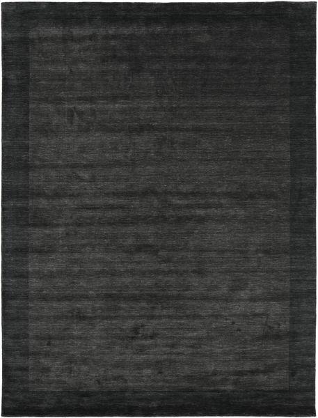 ハンドルーム Frame - 黒/濃いグレー 絨毯 200X300 モダン 濃いグレー/深緑色の (ウール, インド)