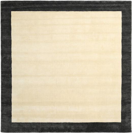 ハンドルーム Frame - 黒/白 絨毯 300X300 モダン 正方形 ベージュ/濃いグレー 大きな (ウール, インド)
