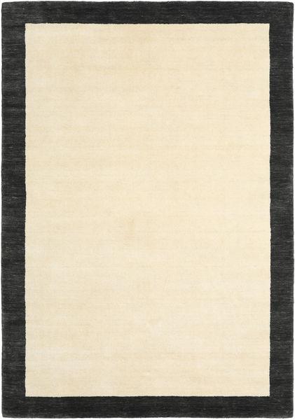 ハンドルーム Frame - 黒/白 絨毯 160X230 モダン ベージュ/黒 (ウール, インド)