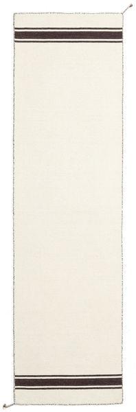 Ernst - オフホワイト/茶 絨毯 80X400 モダン 手織り 廊下 カーペット ベージュ (ウール, インド)