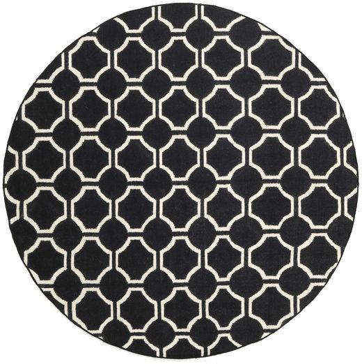 London - 黒/オフホワイト 絨毯 Ø 225 モダン 手織り ラウンド 黒 (ウール, インド)