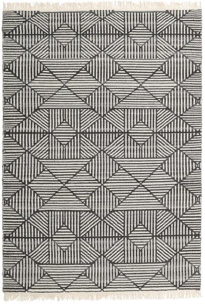 Mauri 絨毯 140X200 モダン 手織り 濃いグレー/薄い灰色/暗めのベージュ色の (ウール, インド)