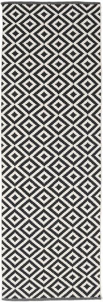 Torun - 黒/Neutral 絨毯 80X300 モダン 手織り 廊下 カーペット 黒/薄い灰色 (綿, インド)