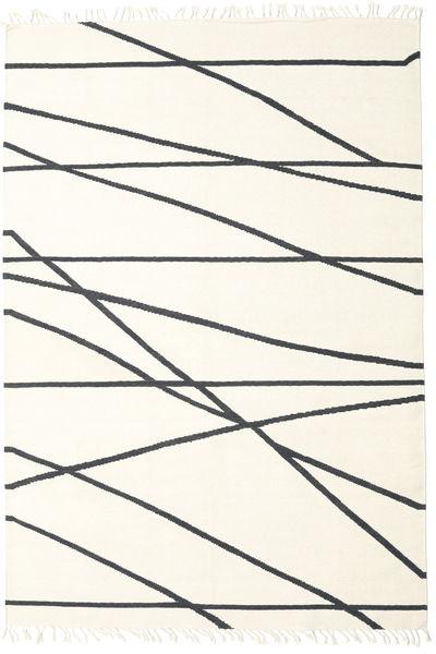 Cross Lines - オフホワイト/黒 絨毯 200X300 モダン 手織り ベージュ/ホワイト/クリーム色 (ウール, インド)