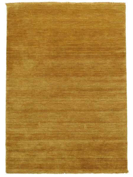 ハンドルーム Fringes - 黄色 絨毯 140X200 モダン 薄茶色/黄色 (ウール, インド)