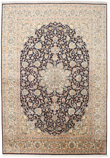 カシミール ピュア シルク 絨毯 169X244 オリエンタル 手織り ベージュ/濃いグレー (絹, インド)