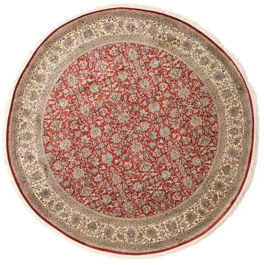 カシミール ピュア シルク 絨毯 Ø 245 オリエンタル 手織り ラウンド 薄茶色/薄い灰色 (絹, インド)