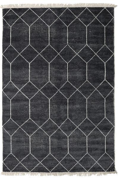 Kiara - Dark_Navy 絨毯 140X200 モダン 手織り 黒/濃いグレー ( インド)