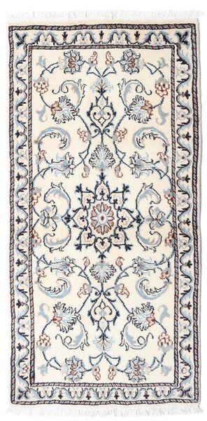 ナイン 絨毯 65X136 オリエンタル 手織り ベージュ/薄い灰色 (ウール, ペルシャ/イラン)