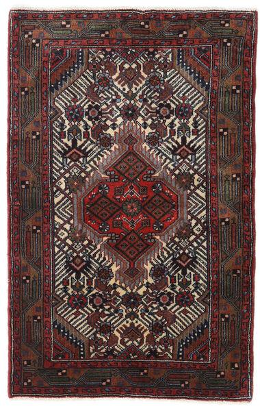 ハマダン 絨毯 78X123 オリエンタル 手織り 黒/深紅色の (ウール, ペルシャ/イラン)