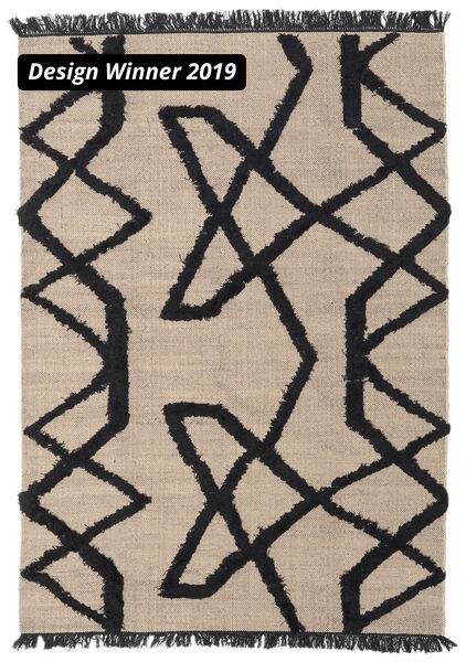Boho Fish - グレー/黒 絨毯 160X230 モダン 手織り 薄い灰色/黒 (ウール, インド)