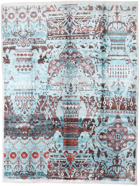Sari ピュア シルク 絨毯 275X363 モダン 手織り 水色/濃いグレー 大きな (絹, インド)