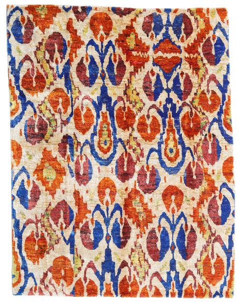 Sari ピュア シルク 絨毯 155X203 モダン 手織り ベージュ/深紅色の (絹, インド)