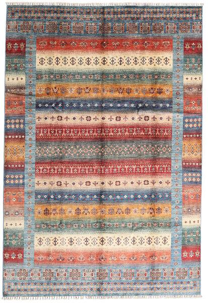 モダン アフガン 絨毯 207X305 モダン 手織り 濃い茶色/薄い灰色 (ウール, アフガニスタン)