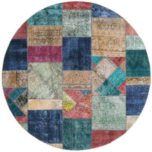 パッチワーク - Persien/Iran 絨毯 Ø 250 モダン 手織り ラウンド 薄い灰色/紺色の 大きな (ウール, ペルシャ/イラン)