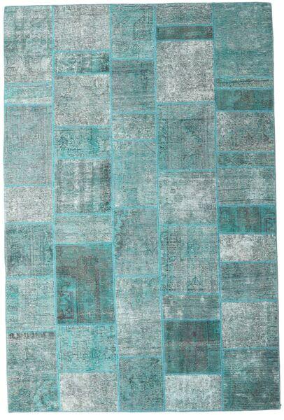 パッチワーク - Persien/Iran 絨毯 203X302 モダン 手織り ターコイズブルー/ターコイズブルー/水色 (ウール, ペルシャ/イラン)