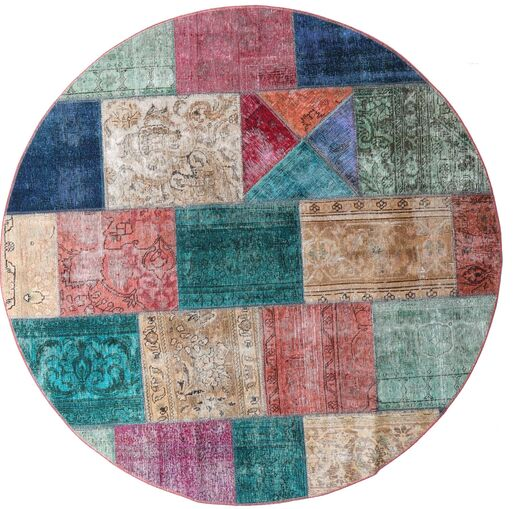パッチワーク - Persien/Iran 絨毯 Ø 200 モダン 手織り ラウンド 茶/薄い灰色 (ウール, ペルシャ/イラン)