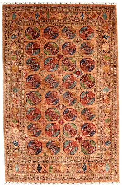 Shabargan 絨毯 202X315 モダン 手織り 薄茶色/赤 (ウール, アフガニスタン)