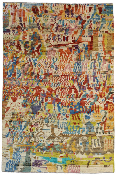 Moroccan Berber - Afghanistan 絨毯 199X303 モダン 手織り 暗めのベージュ色の/濃い茶色 (ウール, アフガニスタン)