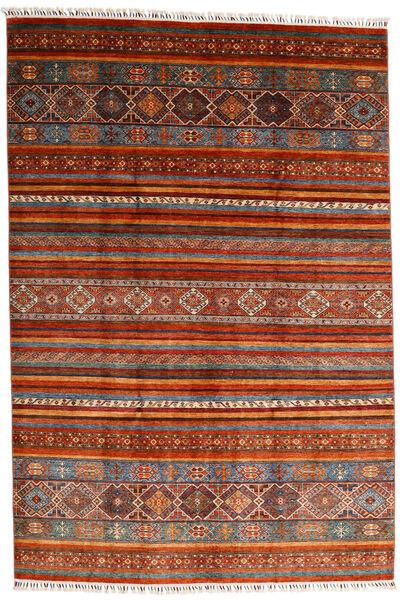 Shabargan 絨毯 202X297 モダン 手織り 深紅色の/錆色 (ウール, アフガニスタン)