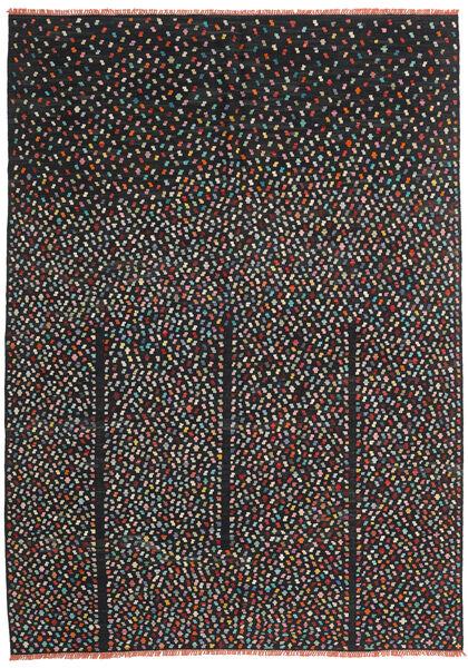 キリム モダン 絨毯 206X286 モダン 手織り 黒 (ウール, アフガニスタン)
