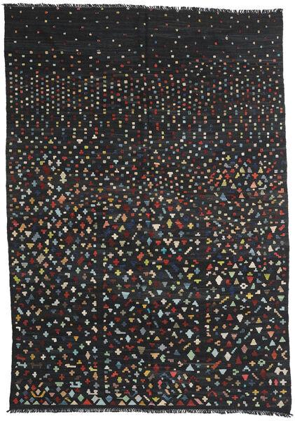 キリム モダン 絨毯 205X293 モダン 手織り 黒 (ウール, アフガニスタン)