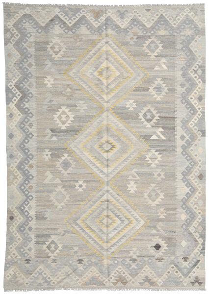 キリム モダン 絨毯 209X291 モダン 手織り 薄い灰色 (ウール, アフガニスタン)