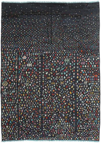 キリム モダン 絨毯 205X283 モダン 手織り 黒/紺色の (ウール, アフガニスタン)