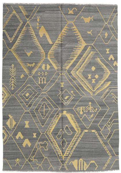 キリム モダン 絨毯 204X292 モダン 手織り 濃いグレー/薄い灰色 (ウール, アフガニスタン)
