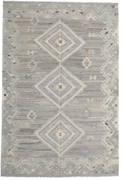 キリム モダン 絨毯 202X302 モダン 手織り 薄い灰色 (ウール, アフガニスタン)