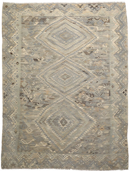 キリム モダン 絨毯 256X333 モダン 手織り 薄い灰色/オリーブ色 大きな (ウール, アフガニスタン)