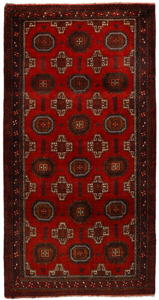 マシュハド 絨毯 100X194 オリエンタル 手織り 深紅色の/濃い茶色 (ウール, ペルシャ/イラン)