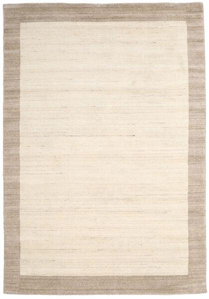 ハンドルーム Frame - ナチュラル/砂色 絨毯 200X300 モダン ベージュ/薄い灰色 (ウール, インド)