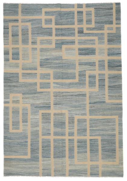 キリム モダン 絨毯 202X298 モダン 手織り 濃いグレー/薄茶色 (ウール, アフガニスタン)