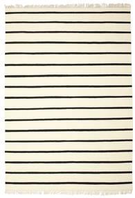 ドリ Stripe - 白/黒 絨毯 220X320 モダン 手織り ベージュ/ホワイト/クリーム色 (ウール, インド)