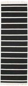 ドリ Stripe - 黒/白 絨毯 80X250 モダン 手織り 廊下 カーペット 黒/ホワイト/クリーム色 (ウール, インド)
