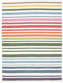 Rainbow Stripe - 白 絨毯 200X250 モダン 手織り ベージュ/ホワイト/クリーム色 (綿, インド)