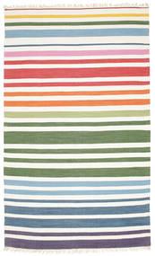 Rainbow Stripe - 白 絨毯 180X280 モダン 手織り ベージュ/ホワイト/クリーム色 (綿, インド)