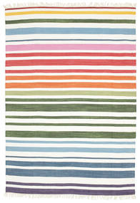 Rainbow Stripe - 白 絨毯 160X230 モダン 手織り ホワイト/クリーム色 (綿, インド)