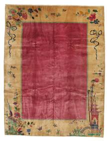 中国 アンティーク: Art Deco 1920 絨毯 275X360 オリエンタル 手織り 薄茶色/赤/深紅色の 大きな (ウール, 中国)