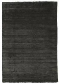 ハンドルーム Fringes - 黒/グレー 絨毯 220X320 モダン 黒/濃いグレー (ウール, インド)