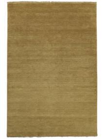 ハンドルーム Fringes - オリーブグリーン 絨毯 140X200 モダン オリーブ色/茶 (ウール, インド)