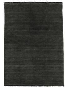 ハンドルーム Fringes - 黒/グレー 絨毯 160X230 モダン 黒/濃いグレー (ウール, インド)
