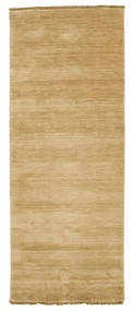 ハンドルーム Fringes - ベージュ 絨毯 80X200 モダン 廊下 カーペット 暗めのベージュ色の/薄茶色 (ウール, インド)