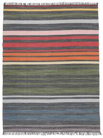 Rainbow Stripe - グレー 絨毯 250X300 モダン 手織り 濃いグレー/オリーブ色 大きな (綿, インド)