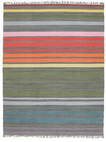 Rainbow Stripe - グレー 絨毯 200X250 モダン 手織り 薄い灰色/オリーブ色 (綿, インド)