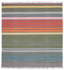 Rainbow Stripe - グレー 絨毯 200X200 モダン 手織り 正方形 濃いグレー/薄い灰色 (綿, インド)